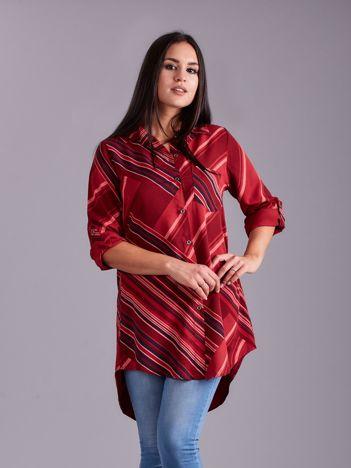 Bordowa długa koszula damska