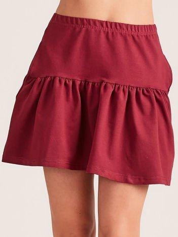 Bordowa dresowa spódnica z falbaną