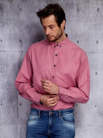 Bordowa koszula męska w delikatny wzór