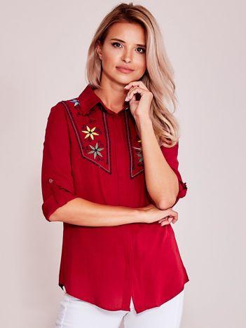 Bordowa koszula z haftem