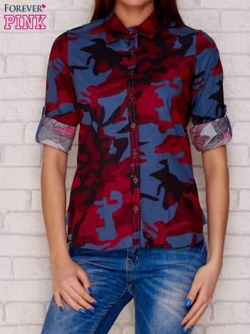 Bordowa koszula z motywem moro