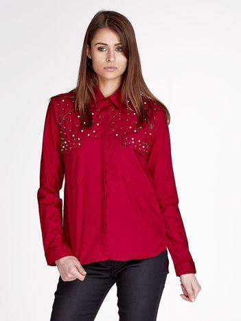 Bordowa koszula z perełkami