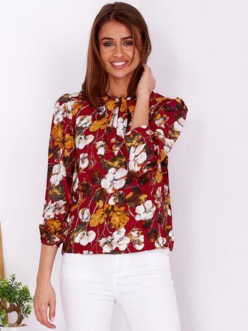 Bordowa kwiatowa bluzka z wiązaniem