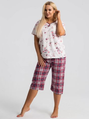 Bordowa piżama plus size we wzory