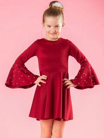 Bordowa rozkloszowana sukienka dziewczęca