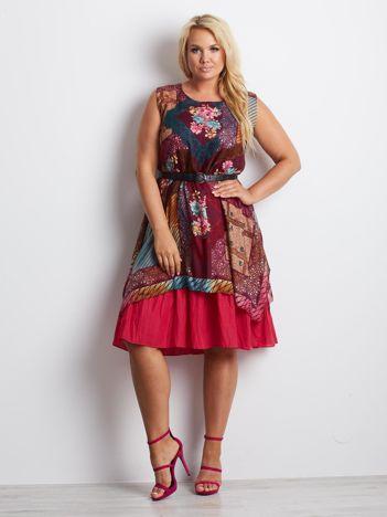 Bordowa sukienka plus size Patchwork
