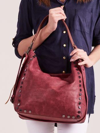 Bordowa torba damska z ćwiekami