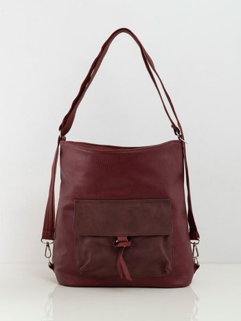 Bordowa torba z kieszenią
