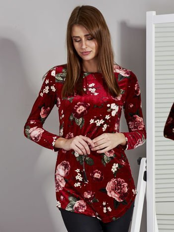 Bordowa welurowa tunika w kwiaty