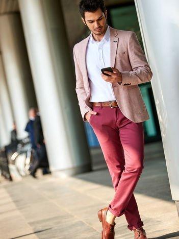 Bordowe bawełniane spodnie męskie chinosy