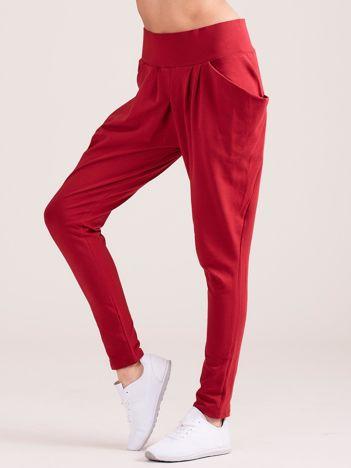 Bordowe damskie spodnie dresowe pumpy