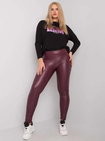 Bordowe legginsy plus size ze skóry ekologicznej Marion RUE PARIS