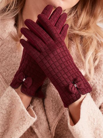 Bordowe rękawiczki w kratkę