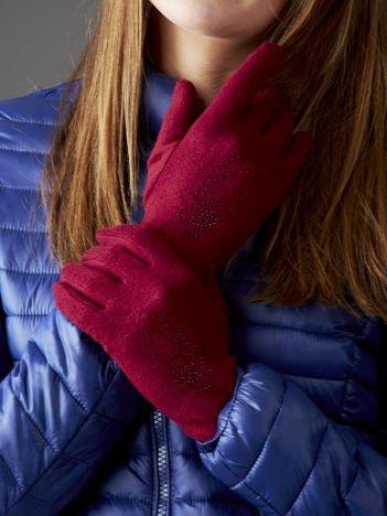 Bordowe rękawiczki z aplikacją z dżetów