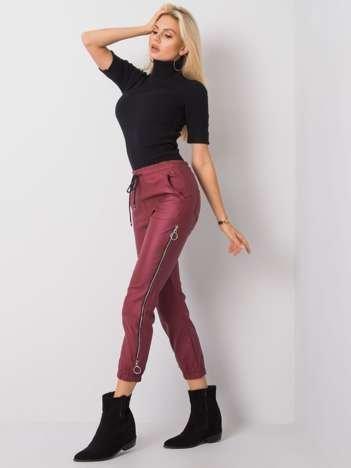 Bordowe spodnie woskowane Jackie