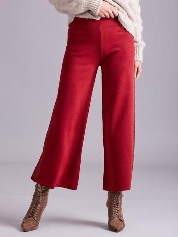 Bordowe szerokie spodnie z dzianiny