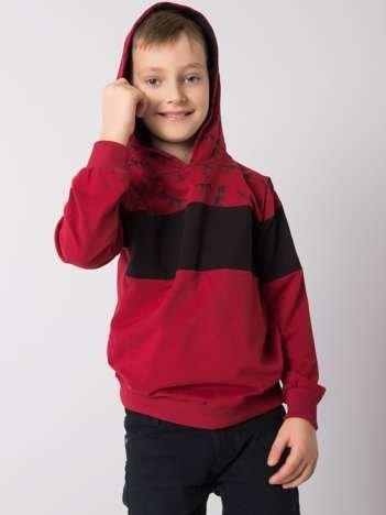 Bordowo-czarna bluza dla chłopca z bawełny