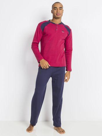 Bordowo-granatowa męska piżama