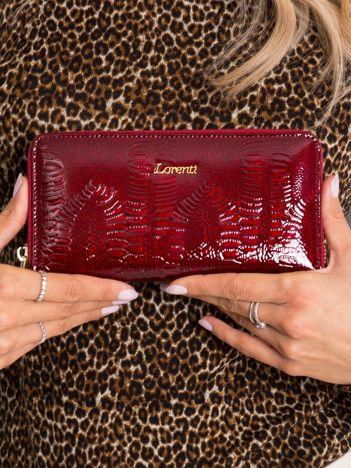 Bordowy skórzany portfel lakierowany