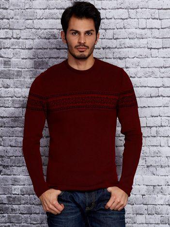 Bordowy sweter męski z modułem w etniczne wzory