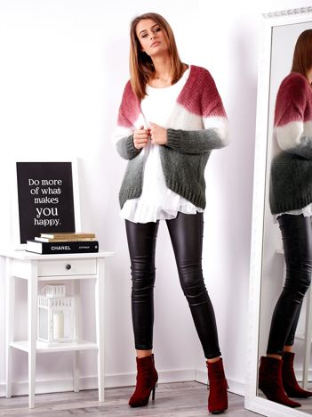 Bordowy sweter ombre
