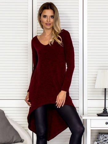 Bordowy sweter z dłuższym tyłem