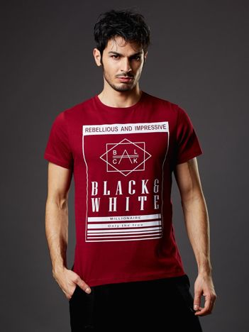 Bordowy t-shirt męski Rebellious