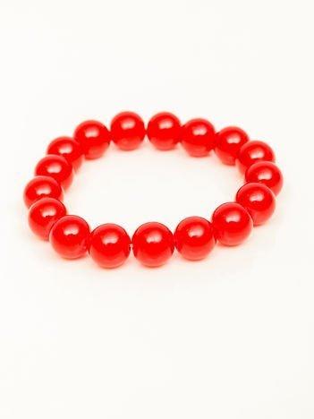 Bransoletka damska czerwona z perełkami