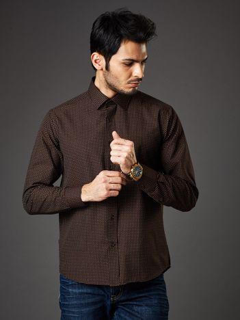 Brązowa koszula męska w kropki regular fit
