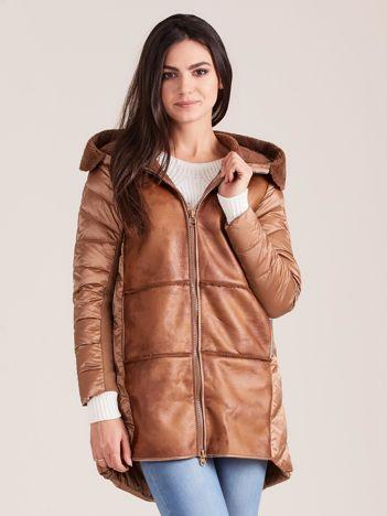 Brązowa kurtka ze skórzanymi wstawkami