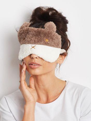 Brązowa pluszowa maska na oczy