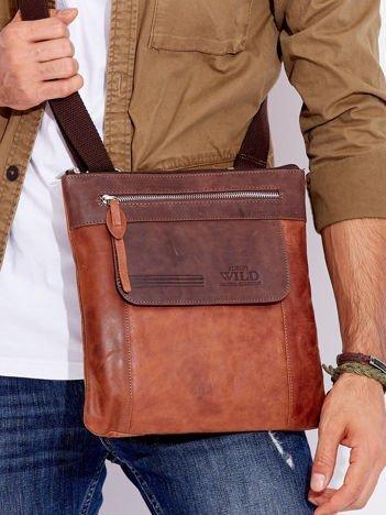 Brązowa skórzana torebka męska z paskiem i suwakiem