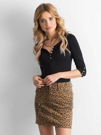 Brązowa spódnica jeansowa w cętki