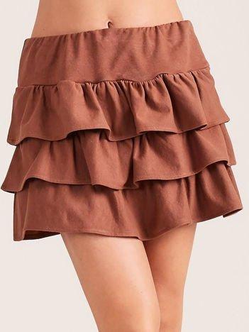 6f57b70491 Brązowa spódnica mini z falbanami