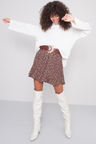 Brązowa spódnica we wzory BSL