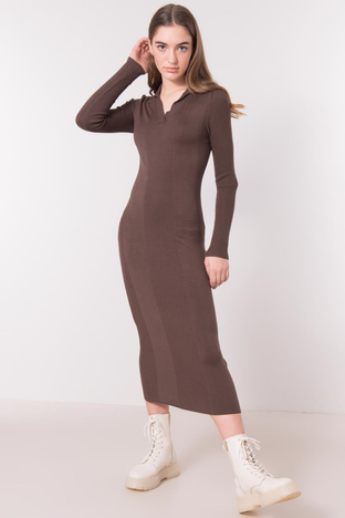 Brązowa sukienka w prążek BSL