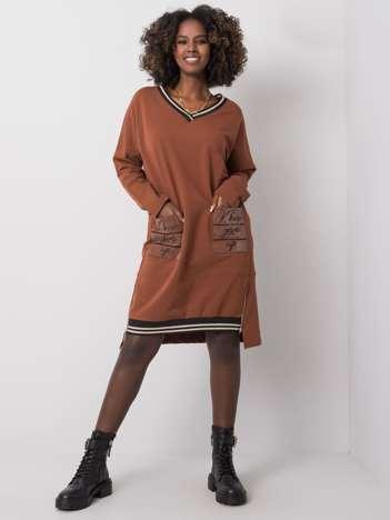 Brązowa sukienka z kieszeniami Angie