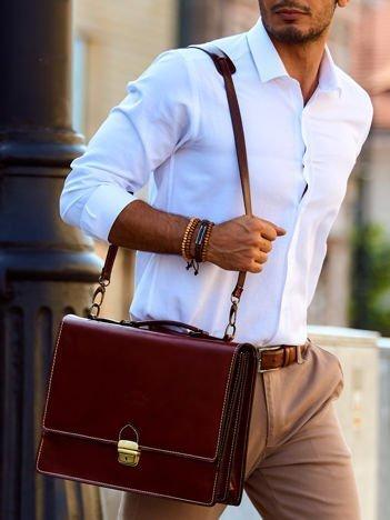 Brązowa torba aktówka męska z odpinanym paskiem