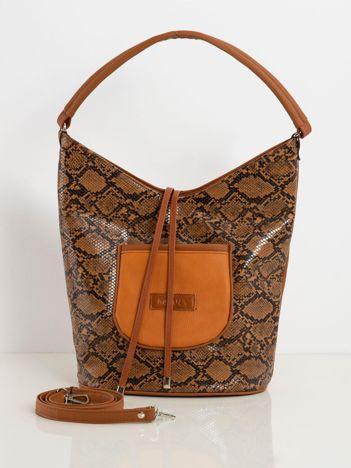 Brązowa torba hobo w zwierzęcy wzór