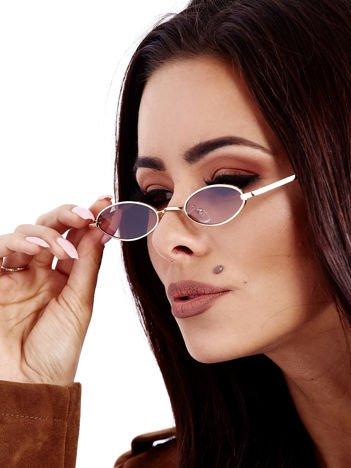 Brązowe Metalowe Podłużne Okulary Unisex
