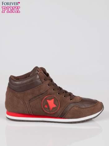 Brązowe buty sportowe faux suede Stylish z imitacji zamszu