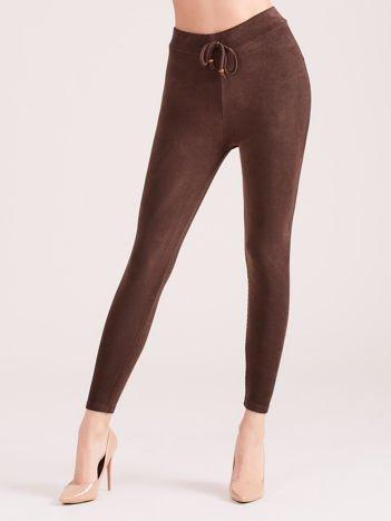 Brązowe sztruksowe legginsy