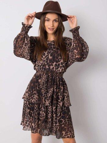 Brązowo-czarna sukienka Smile OCH BELLA