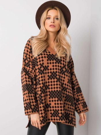 Brązowo-czarny sweter Bella RUE PARIS
