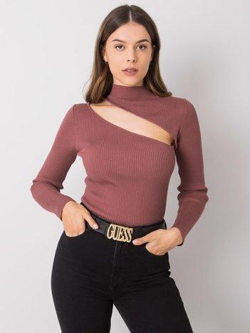 Brązowo-różowy sweter z wycięciami Yessenia