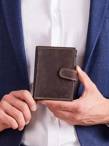 Brązowy męski pionowy portfel skórzany