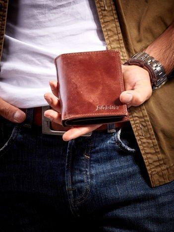 Brązowy męski portfel ze skóry otwarty