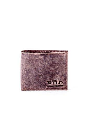 Brązowy miękki portfel męski ze skóry naturalnej