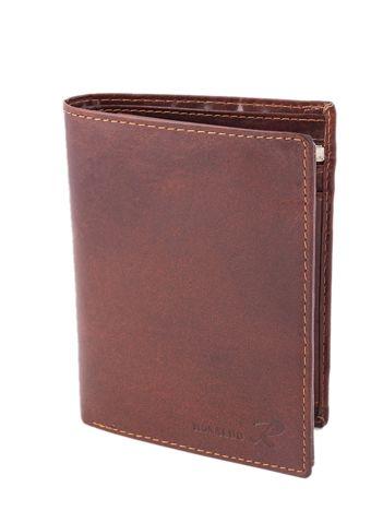 Brązowy miękki skórzany portfel męski
