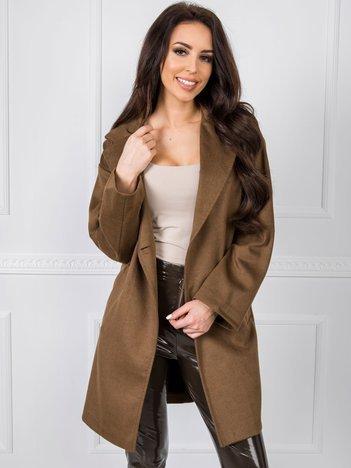 Brązowy płaszcz damski BSL